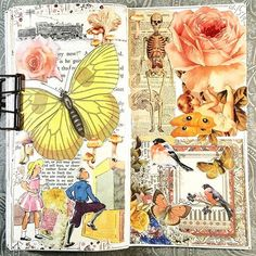 Paper Collage Art, Collage Book, Collage Artists, Notebook Collage, Art Journal Pages, Junk Journal, Art Journals, Illustration Pen And Ink, Planners