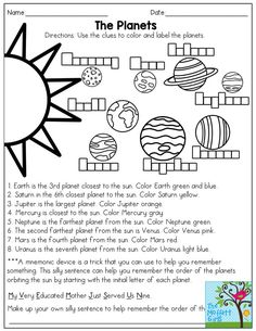 The Planets (read and color, then come up with a mnemonic device to remember the… – Science, Physics and Astronomy News Planets Activities, Solar System Activities, Solar System Worksheets, Solar System Projects, Space Activities, Science Activities, Science Art, Science Projects, Science Experiments