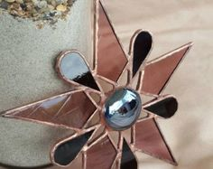 Stained Glass Suncatcher Star with Moon Face Jewel by GLASSbits