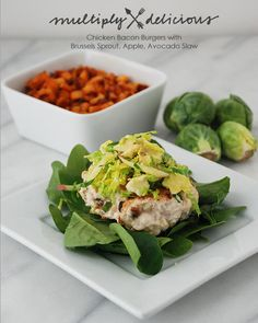 Multiply Delicious- The Food | Chicken Bacon Burgers with Brussels Sprout, Apple, Avocado Slaw