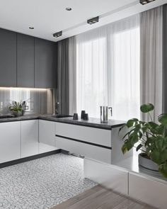 50 Creative Modern Kitchen Cabinet Design Ideas For Large Space Storage ~ Ideas for House Renovations Interior, Hidden Kitchen, Kitchen Room Design, Kitchen Furnishings, Kitchen Design Contemporary White, Modern Kitchen Cabinet Design, Modern Kitchen Design, Minimalist Kitchen, Kitchen Style