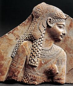 """Fragment of a relief of Queen Cleopatra VII Thea Philopator (""""Cleopatra the Father-Loving Goddess"""")  of Egypt, 1st Century BC."""