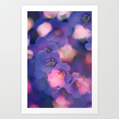 Collect your choice of gallery quality Giclée, or fine art prints custom trimmed by hand in a variety of sizes with a white border for framing. #juledecule #artprint #flowers #society6 #purple #poster #wall #decoration