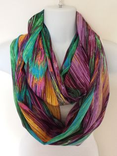 The new hot item for spring is here! Match this India Silk Spectrum scarf with any bright outfit. Only $16 on Etsy  #infinityscarves #infinityscarf