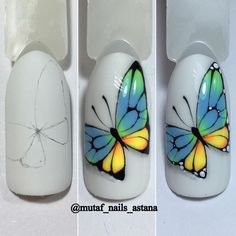 Nails Art Flores Tutorials For 2019 Butterfly Nail Designs, Butterfly Nail Art, Simple Nail Art Designs, Gel Nail Designs, Cute Nail Designs, Easy Nail Art, Diy Nails, Cute Nails, Animal Nail Art