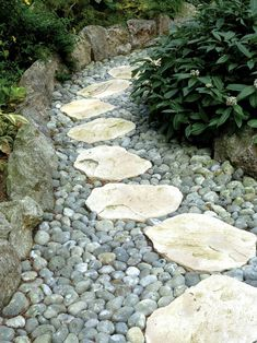 stepping stones on dry bed filled with small rocks to create a walkway edged with larger rocks.  Lovely!