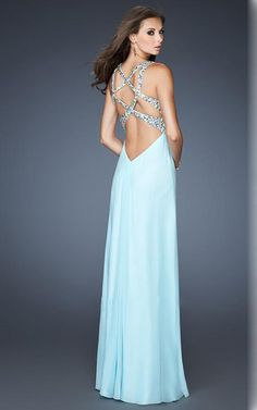 La Femme 18841 Ice Blue Beaded Sparkly Long Night Dress Cheap