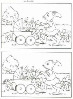 Find the differences Kids Learning Activities, Easter Activities, Kindergarten Worksheets, Fun Worksheets, Easter Colouring, Colouring Pages, Coloring For Kids, Hidden Pictures, Kids And Parenting