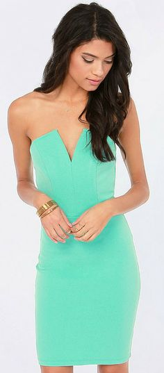 Strapless Mint Party Dress