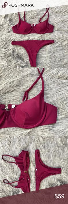 ‼️maroon thong bikini‼️ Summer 2017 trendy must have boho sexy chic bikini Brazilian thong bottom Underwire added for extra push up and removable pads Features maroon burgundy wine magenta color Tag size is a medium with cal fit a small or extra small BUST: 28-34in Wouldn't go bigger then full b WAIST BAND: 25-29in No returns If you love nasty gal style you will love this suit Suit is from my boutique the brand is DIVIINE  BUY WITH CONFIDENCE! HOST PICK & TOP SELLER! SPEND $75 GET FREE…