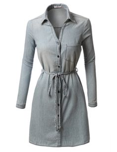 LE3NO Womens Chambray Button Down Long Sleeve Shirt Dress with Belt