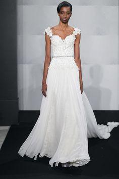 Bridal Gowns: Mark Zunino A-Line Wedding Dress with Strapless Neckline and Natural Waist Waistline
