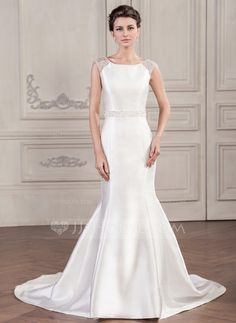 Trompete/Sereia Decote redondo Cauda longa Cetim Tule Vestido de noiva com Bordado Lantejoulas Curvado (002059215)