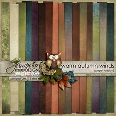 Warm Autumn Winds ~ Paper Addon ~ by Jumpstart Designs Digital scrapbook kits $
