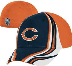 Chicago Bears Flex Hat: Structured Race Stripes Flex Hat by Reebok. $12.99. Two color NFL Shield embroidered on back. Officially licensed by the NFL. 97% cotton & 3% Spandex. Cut & sew & embroidery on crown & top visor. Race on down to the couch with style to watch the game with this Chicago Bears Flex Hat: Structured Race Stripes Flex Hat. This stylish hat features the teams vibrant color scheme and a raised front logo embroidery. This hat is a must-have for any die...
