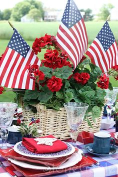 Patriotic Table setting (Memorial Day, Flag Day, of July) A basket of red flowers adorned with 3 American flags. Fourth Of July Decor, 4th Of July Celebration, 4th Of July Decorations, 4th Of July Party, July 4th, Holiday Decorations, Church Decorations, Military Decorations, Outdoor Decorations