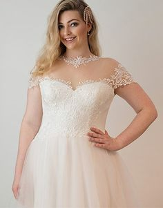 Stunning lace and tulle illusion neckline on the Desarae gown from Peter Trends Curves