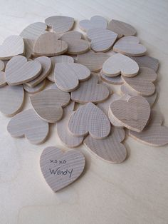 A unique wedding guest book alternative. Instead of pages, your guests could sign hearts.