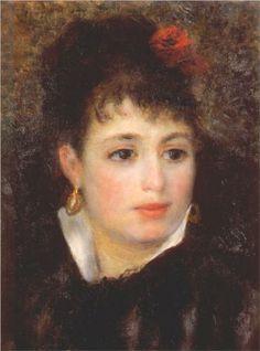 Ritratto di una donna con una rosa tra i cappelli di Pierre-Auguste Renoir