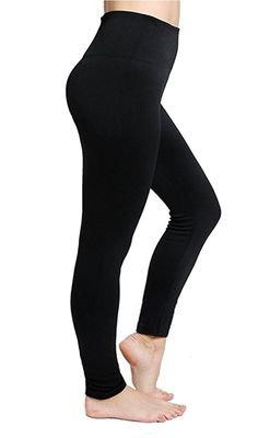 8e61a1f5458 CakCton Black Fleece Leggings for Women High Waist Buttery Soft Stretchy  Tights One Size