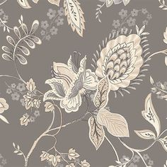 Norwall Wallcoverings Inc Grand Chateau x Jacobean Floral Wallpaper for sale online Foyer Wallpaper, Paisley Wallpaper, Scenic Wallpaper, Silver Wallpaper, Wallpaper Samples, Print Wallpaper, Pattern Wallpaper, Wallpaper Ideas, Black And Cream Wallpaper