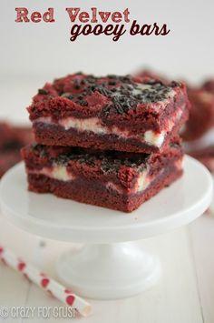 Red Velvet Gooey Bars - an easy recipe mad with red velvet cake mix!