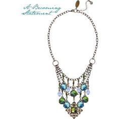 Wear this breath-taking statement necklace! Bella Vintaj layers necklace paired with jump & become revelations along with light sapphire drops. A Becoming Statement, handmade in the USA by Bella Vintaj.