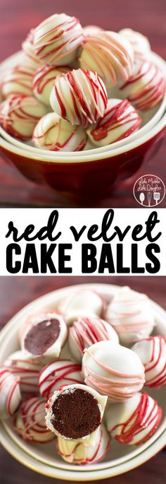 Red Velvet Cake Balls - these delicious little morsels are like bites of red velvet cake rolled up and dipped in white chocolate. Perfect treat!
