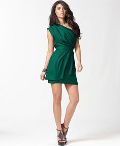 BCBGeneration Dress, One Shoulder Layered Pleated - Womens Dresses - Macy's