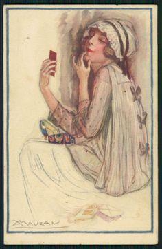 SG Mauzan Art Deco Lipstick Makeup Lady Original Old 1910s Postcard | eBay