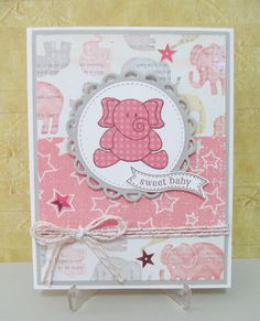 Baby Girl Handmade Card, New Baby Girl Card, Baby Card by SavvyHandmade on Etsy