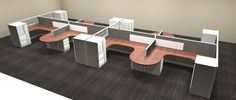 This layout is featured because it provides separation from teammates while also including a collaborative section. Looking for something more modern? Add straight edges and Arch Pulls with vibrant colors to easily achieve. Office Furniture Warehouse, Flexible Furniture, Cubicles, Panel Systems, Your Space, Vibrant Colors, Arch, Layout, Modern