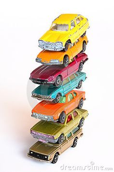 High Pile Of Colorful Toy Cars