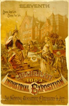 11th Industrial Exhibition Poster featuring Cincinnati's Music Hall in the background. 1883 - Krebs Lithograph Company.