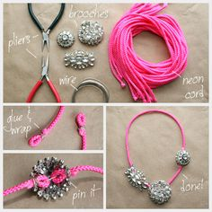 Statement Necklaces DIY -- I think I might use chain instead of cord.  Or maybe cord covered in ribbon.