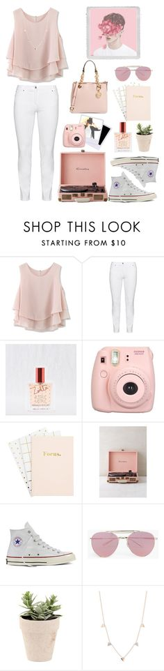 """""""Pastel Pink!"""" by denise-gustin9 on Polyvore featuring Chicwish, Steilmann, Aerie, Fujifilm, Crosley, Converse, Boohoo, Kismet by Milka, Polaroid and MICHAEL Michael Kors"""