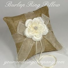 Burlap Ring Pillow - Accent your rustic or vintage wedding with this gorgeous burlap ring pillow. The pillow is finished with soft ivory chiffon ribbon, an ivory millinery rose and a sparkling rhinestone accent. Ring Bearer Pillows, Ring Pillows, Ribbon Wrap, Ribbon Flower, Purple Ribbon, Burlap Wedding Decorations, Ring Pillow Wedding, Wedding Ring, Lace Ring