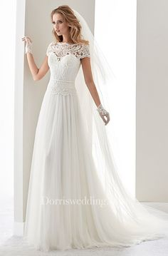 Scalloped-Neck Illusion Draping Wedding Dress With Lace Bodice And T-Shirt Sleeves - Dorris Wedding Wedding Dress Bolero, Princess Wedding Dresses, Modest Wedding Dresses, Designer Wedding Dresses, Bridal Dresses, Bridesmaid Dresses, Tulle Wedding, Chic Wedding, Prom Dresses