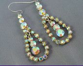 Gorgeous Aurora Borealis Rhinestone Pierced Drop Earrings  by MarlosMarvelousFinds $29.00