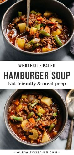 Hamburger soup is my dinner hero! Ground beef is simmered with colorful vegetables in a savory tomato broth, and ready in under an hour. This compliant soup recipe is easy to prepare, nutrient dense, and most importantly kid approved. Whole 30 Soup, Paleo Whole 30, Whole 30 Tomato Soup, Whole Food Recipes, Cooking Recipes, Easy Whole 30 Recipes, While 30 Recipes, Soup And Salad, Clean Eating Snacks