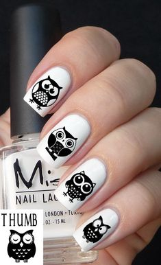 50pc Owl Nail Decal set by DesignerNails on Etsy, $4.00