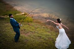 Catch & NOT release. The groom has just caught the love of his life. Someone to have fun with forever. We enjoy getting creative and seeking fun ways to capture your wedding day. It's what stands us apart from the competition. Photo by Dempag Photography.  (scheduled via http://www.tailwindapp.com?utm_source=pinterest&utm_medium=twpin)