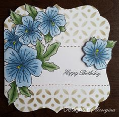 Card using Designs by Georgina, Geranium Tag stamp and Block and Curves stencil.