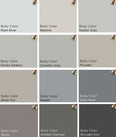 Recommended palette of grey Benjamin Moore Paints from interview on Design Crisis..
