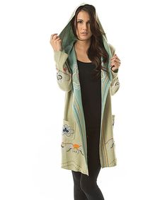 Another great find on #zulily! PAPARAZZI Sage Embroidered Hooded Cardigan by PAPARAZZI #zulilyfinds