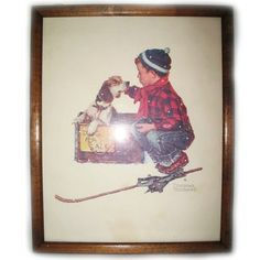 VINTAGE NORMAN ROCKWELL Old PRINT PRINTED Art Painting BOY DOG Wood Wooden Frame $98 .. we sell more HOME DECORATIONS at http://www.TropicalFeel.com