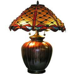 Ceramic Base Jewel Table Lamp with copper foil