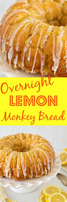 Overnight Lemon Monkey Bread | This sweet bread is a lemon lover's dream. Every little bite of this luscious lemon bread is coated in a sweet tart lemon sugar. It's baked until crispy & caramelized on the outside, and sticky & gooey on the inside, then drizzled with a tart lemon glaze. Find recipe at redstaryeast.com.