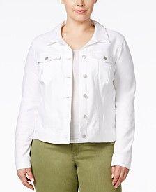 Jessica Simpson Trendy Plus Size Pixie White Wash Denim Jacket