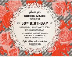 lingerie shower invitation red rose lace doily by hueinvitations 1e27738d825